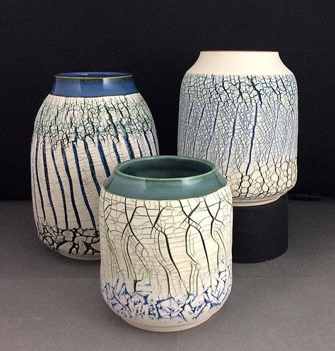 Rimmed Textural Vases