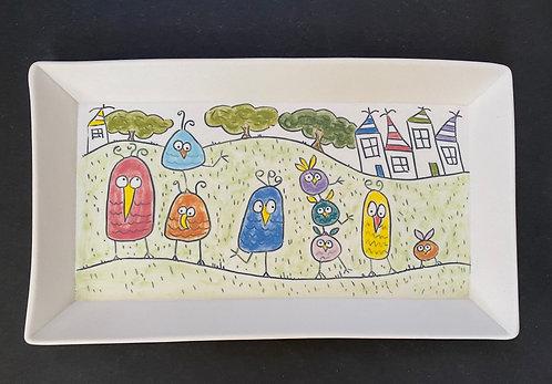 Story Plate, 6x10--Birdie's Family Reunion