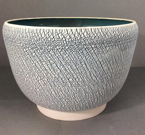 X-Large Porcelain Textured Bowl --Blue/Green