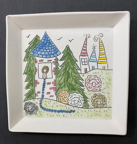 """""""Knitter's Dream"""" Story Plate, 7x7"""