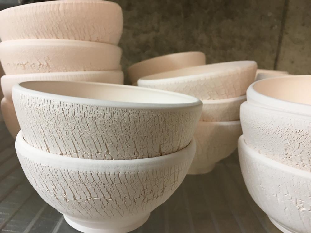 bisque ware--unglazed fractured bowls