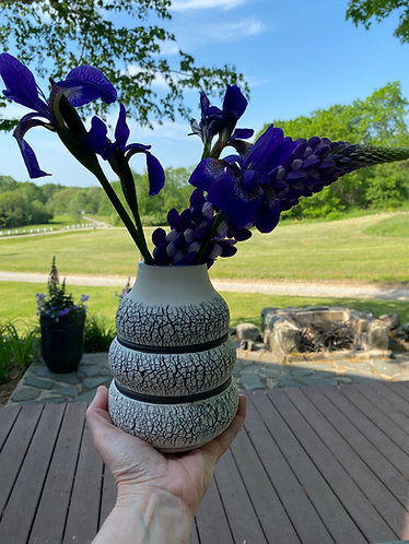 Banded Vase w/black rings & blue interior