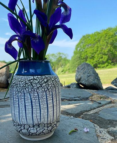 Rimmed Textural Vase--Birch Forest