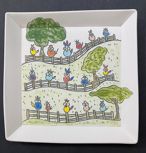 Birds on The Fence--7x7 Plate