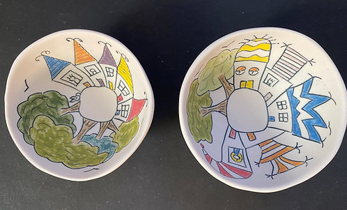 Small Story Bowls--Rabbit in Town and She Lives in a Hat House
