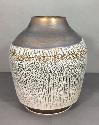 Large Textured Vase with Gold Accent