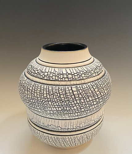 Banded Vase w/wide opening