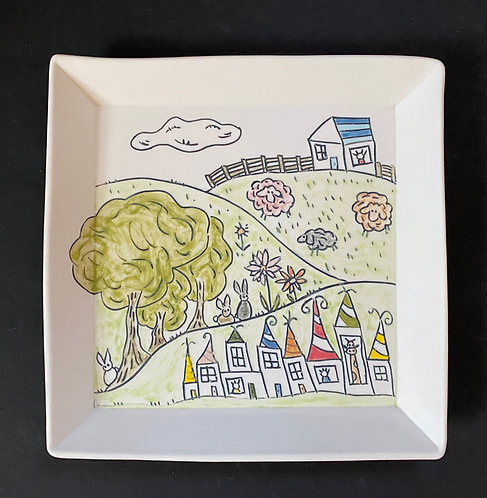 Meanwhile up in the Sheep Field--Story Plate, 7x7-