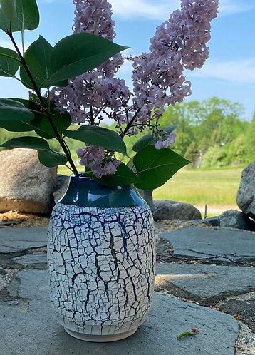 Rimmed Textural Vase-Blue