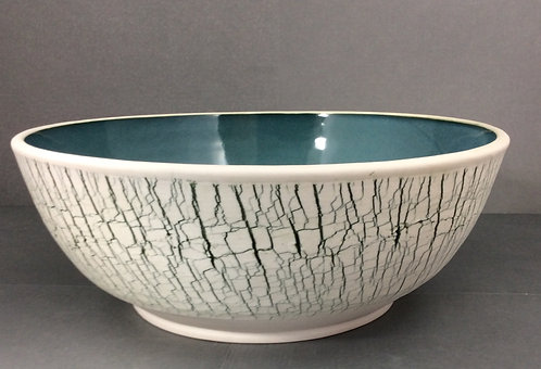 X-Large Porcelain Textured Bowl --Blue/Green & Red Gold