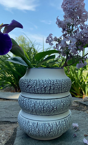 Banded Vase w/black line & blue interior