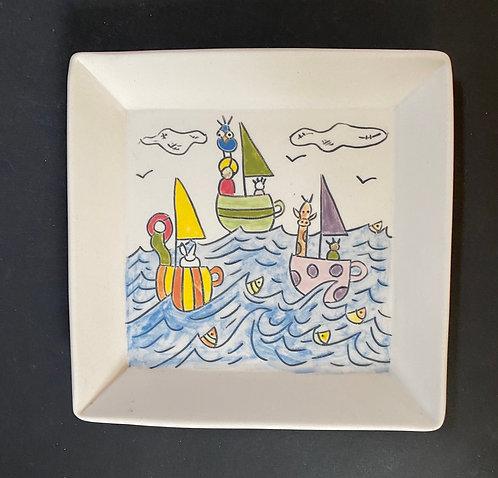 Story Plates, 6x6--Teacup Races