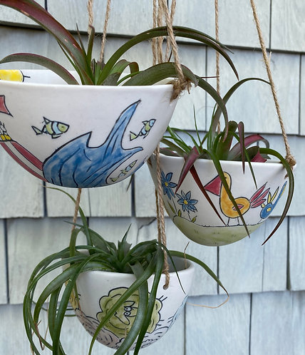 Hanging Story Planters--Town, Sheep, Birds,Sea & Alien