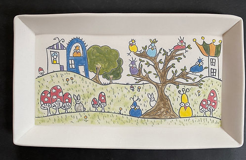 Bird's Party on the Outskirts of Town-- Story Plate, 6x10