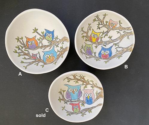 Owl Tree Bowls, medium