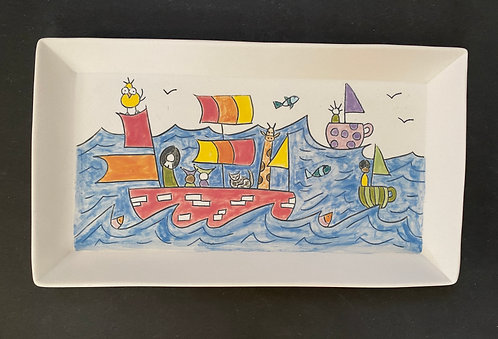 Story Plate, 6x10--Adventures at Sea
