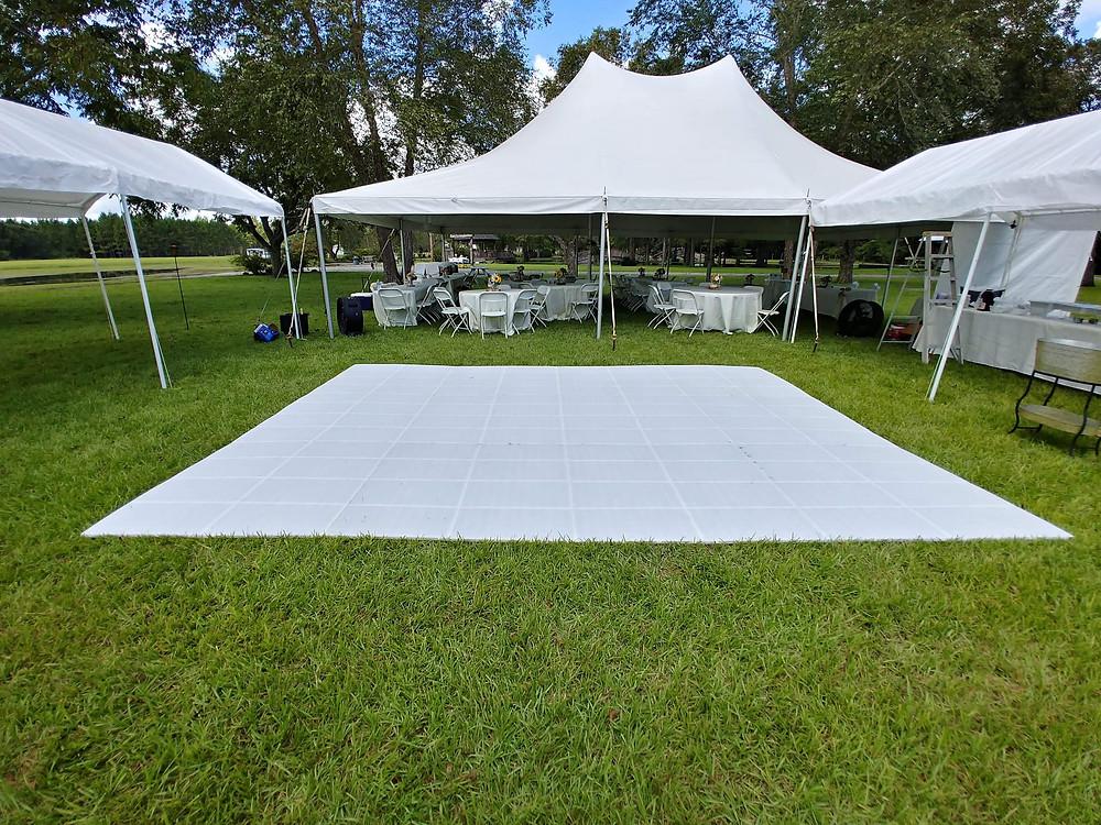 A DJ Connection Outdoor Dance Floor Diamond Plate Clear White Grass Sand Rental