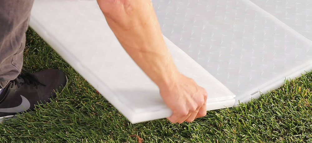 A DJ Connection outdoor dance floor rental snap diamond plate clear white