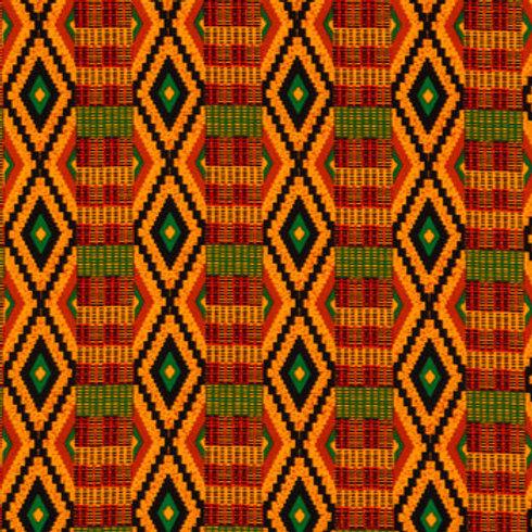 Orange & black  Striped Kente