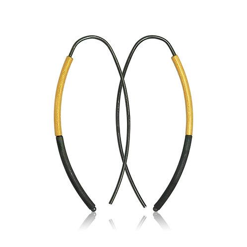 Handmade Designer Gold Plated Oxidised Silver Hook Earrings