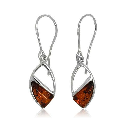 Sterling Silver Amber Drop Earrings