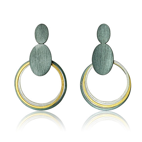 Handmade Designer Sterling Silver Gold Plated Circular Earrings
