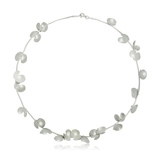 Handmade Designer Silver Petal Necklace