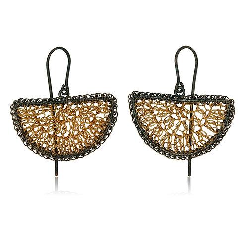 Handmade Designer Oxidised & Gold Plated Silver Earrings