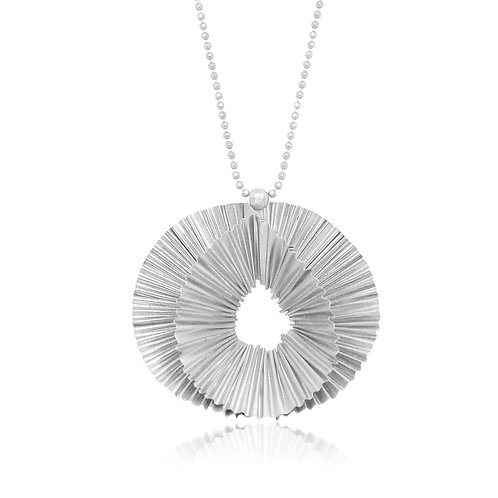 Handmade Designer Silver Ridged Pendant