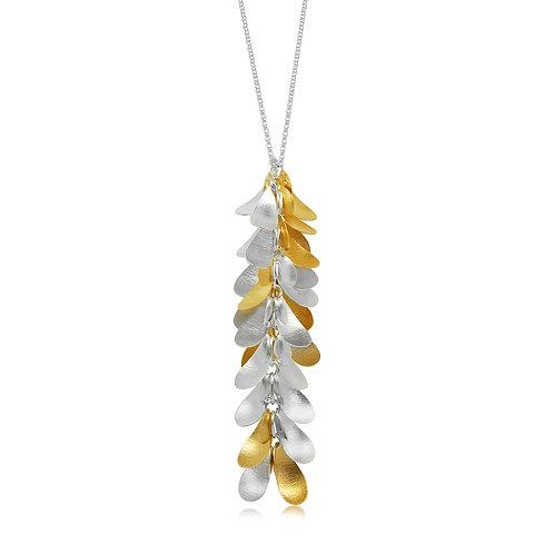 Handmade Designer Gold Plated Silver Petal Pendant