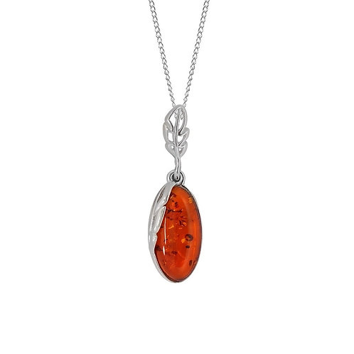 Sterling Silver Oval Amber Drop Pendant