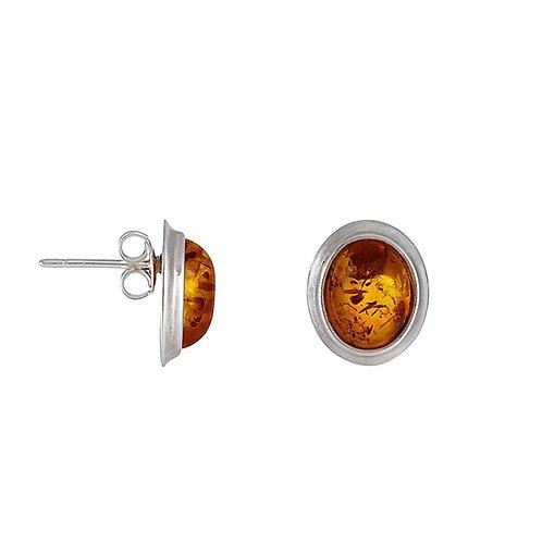Sterling Silver Oval Amber Stud Earrings