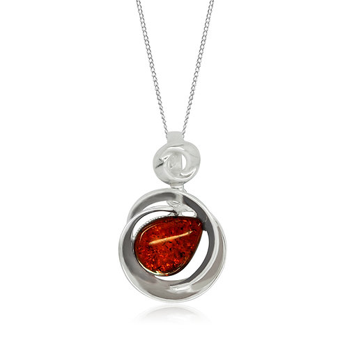 Sterling Silver Cognac Amber Teardrop Pendant
