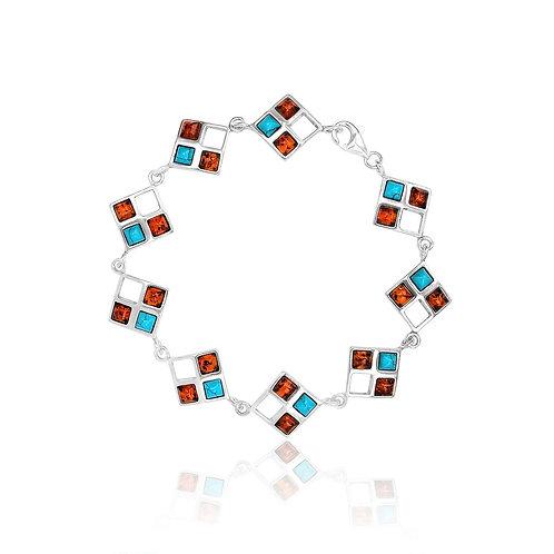 Sterling Silver Amber & Turquoise Bracelet