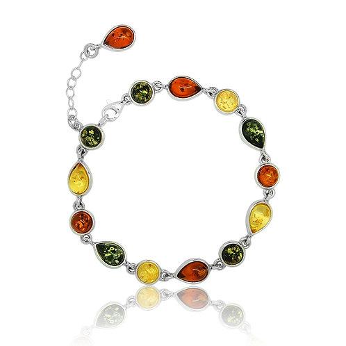 Silver Multicoloured Amber Bracelet