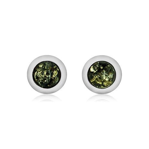 Sterling Silver Green Amber Stud Earrings