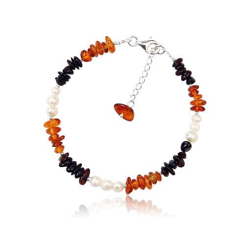 Silver Amber & Fwp Bracelet