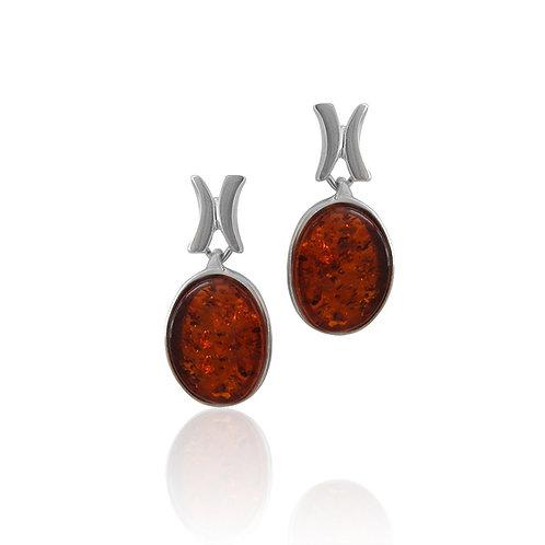 Sterling Silver Amber Oval Drop Earrings
