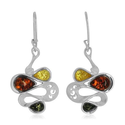 Sterling Silver Multicoloured Amber Earrings