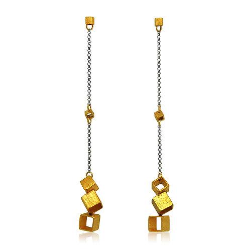 Handmade Designer Gold Plated Silver Cube Earrings