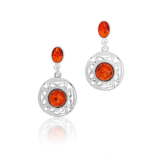 Silver Amber Celtic Earrings