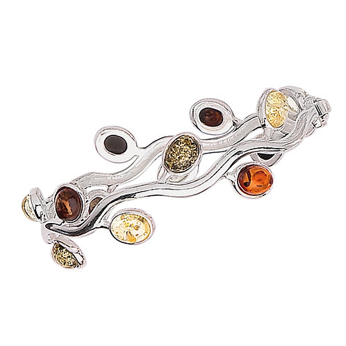 Sterling Silver with 13 Oval Multicoloured Amber Stone Bracelet