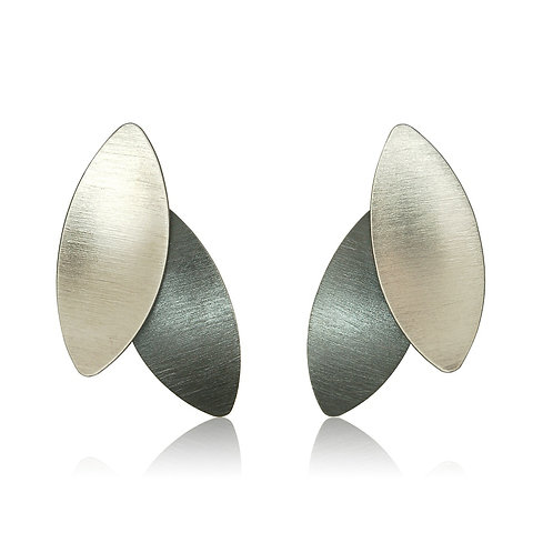 Handmade Designer Sterling Silver Marquise Stud Earrings