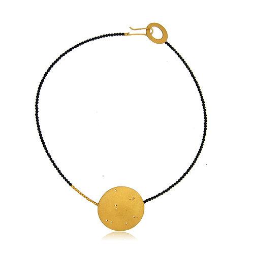 Handmade Designer Gold Plated Silver Disc Collar