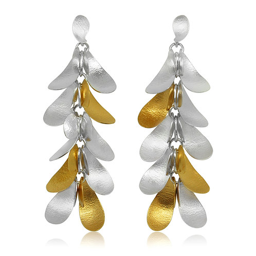 Handmade Designer Gold Plated Silver Petal Earrings