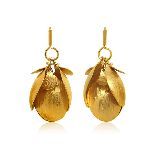 Handmade Designer Gold Plated Silver Petal Earrings