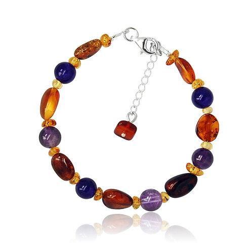 Silver Amber & Amethyst Bead Bracelet