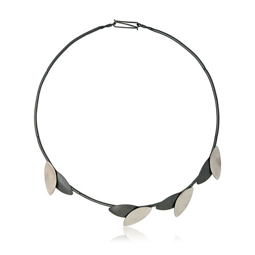 Handmade Designer Brushed Oxidised Sterling Silver Necklace