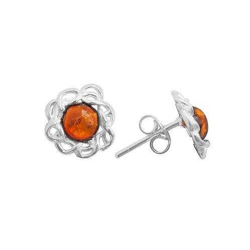 Sterling Silver Oval Amber Earrings