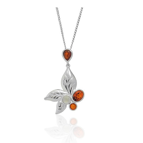 Sterling Silver 3 Amber Stone & Moonstone Leaf Pendant